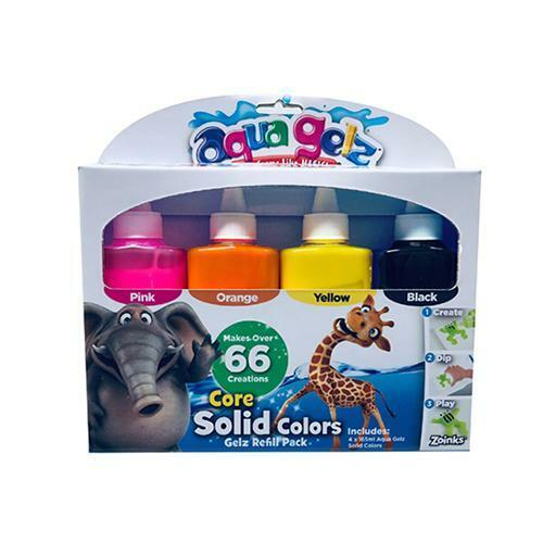 Aqua Gelz Solid Colour Refill 4 Pack Childrens Kids Creative Art Activity Kit 4+