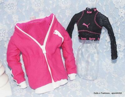 TOP BARBIE DOLL PUMA MADE TO MOVE PINK MESH SLEEVE DESIGNER SHIRT CLOTHING