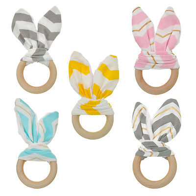 Novelty Wooden Natural Baby Boy Girl Teething Ring Chewie Teether Bunny Ear Toy