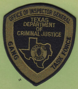 image is loading texas department of criminal justice gang task force