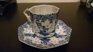 ANTIQUE-JAPANESE-BLUE-AND-WHITE-TEA-CUP-AND-SAUCER-VONE-CHINA-RARE-ESTATE