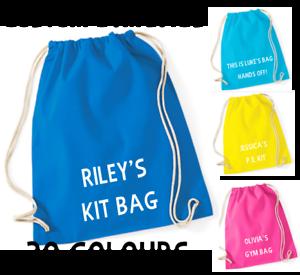 Personalised Cotton Drawstring Bag PE Gym Kit School P.E Kids Sport Rucksack