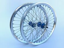 """NOS Vintage BMX 20"""" Sumo Semi Polished Rims Laced Blue Anodized Hubs and Nipples"""