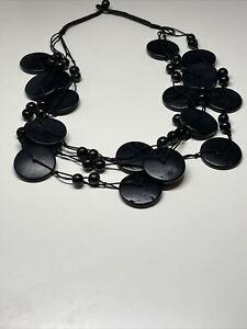 Collier Ancien Vintage Perles Noire R 8