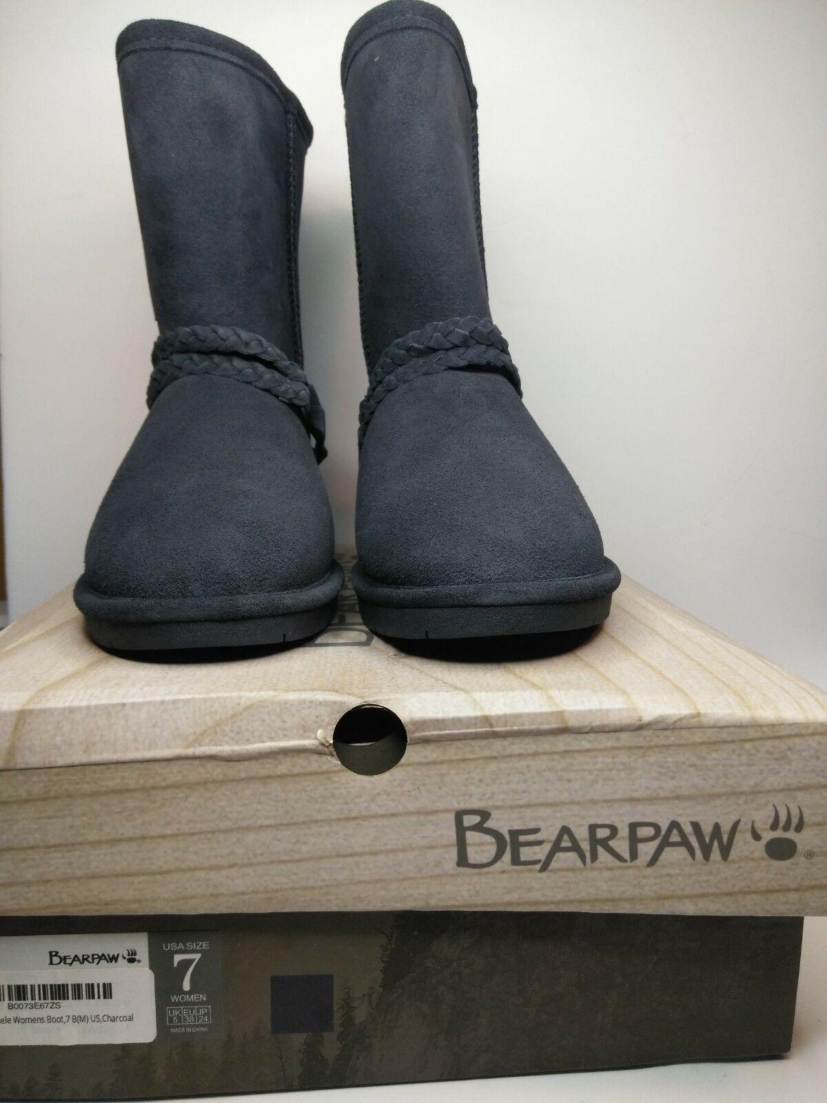 17cdee8b6d5 BEARPAW Adele Suede Sheepskin Footbed Harness Boots Charcoal 7 Strap Women s  oovswr2850-Women s Boots