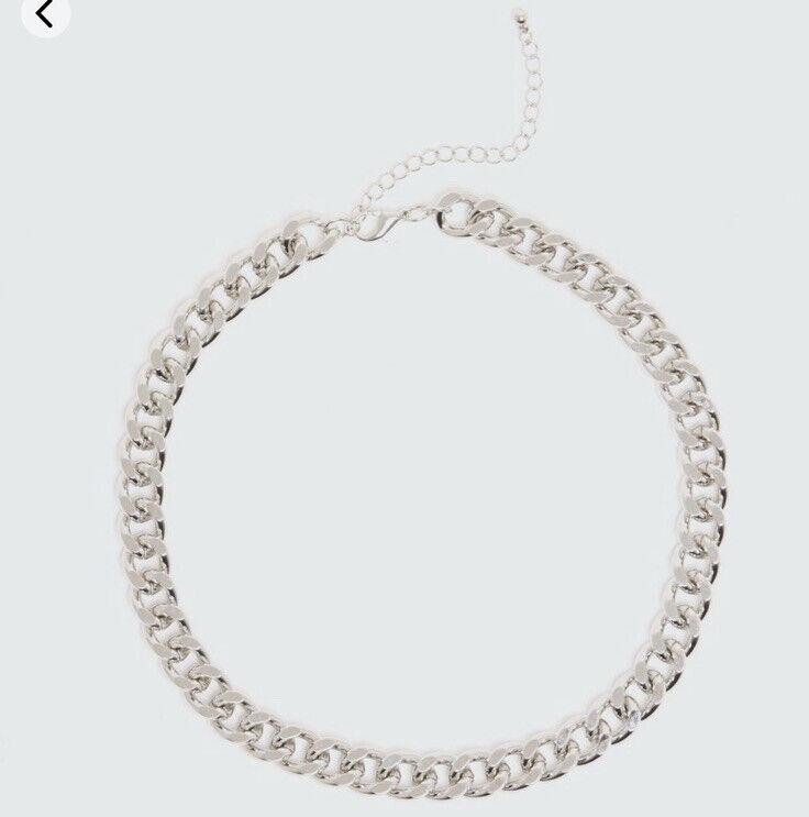 Women Silver Chain Choker Necklace Brand New