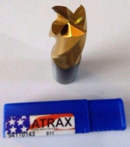 """NEW  ATRAX CARBIDE ENDMILL 1/""""X1/""""X1.1//2/""""X4/"""" TIN Z4"""