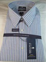 Stafford Performance Super Dress Shirt Long Sleeve Blue Striped Reg. Fit