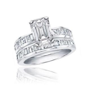Image Is Loading Gia Certified Emerald Cut Wedding Set Ring 3