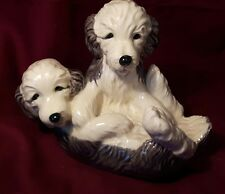 PORCELAIN OLD ENGLISH SHEEPDOG  PUPPIES - HEREDITIES CHARM OF CREAMWARE