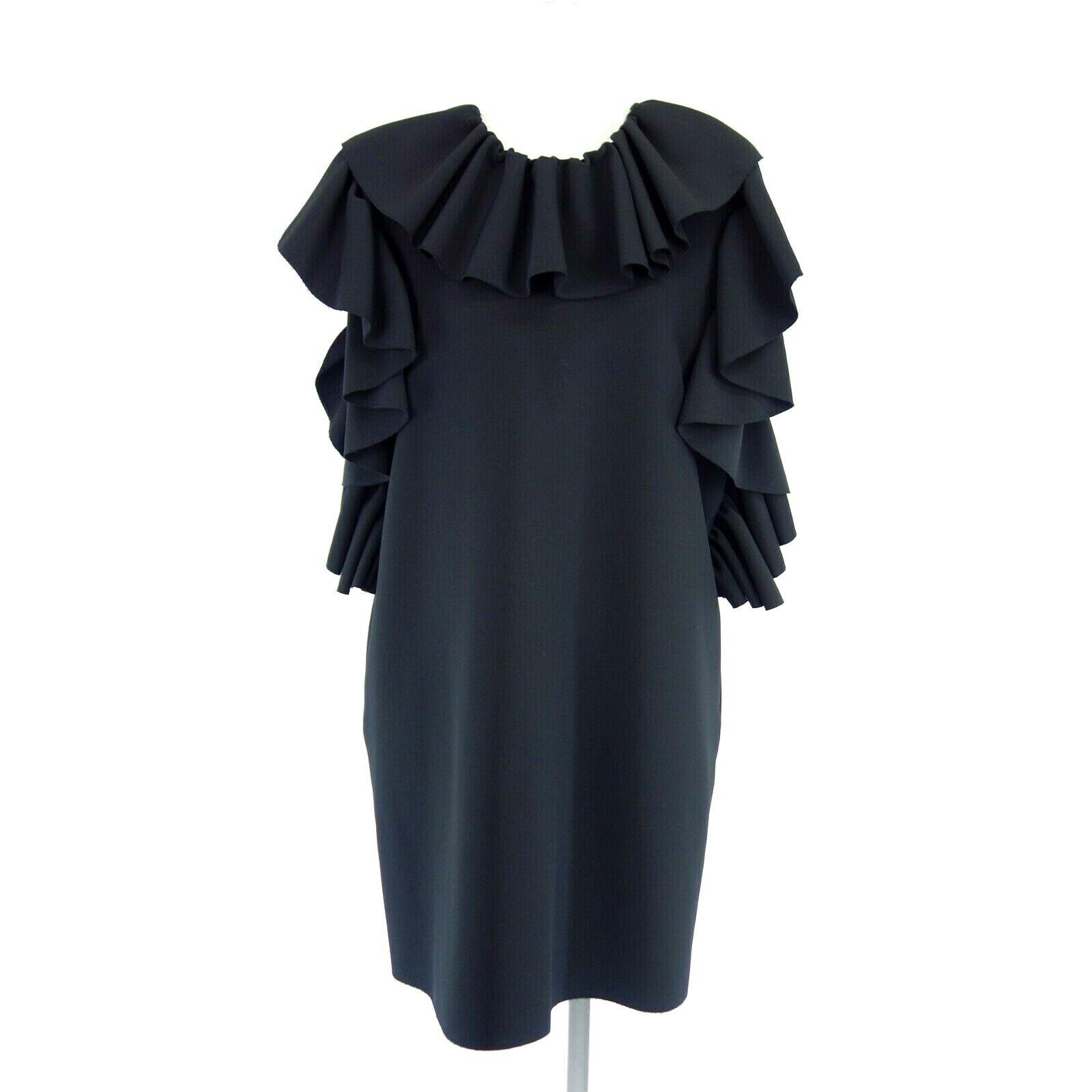 MSGM Milano Damen Kleid IT 44 DE 38 Schwarz Etuikleid Volant Elegant Np 445 Neu