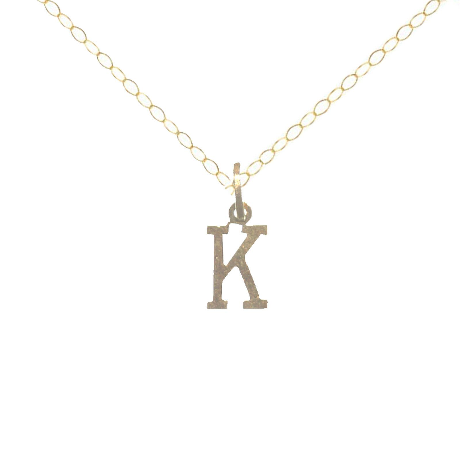 Solid 9ct Yellow gold Initial  K  10.5 mm Tall with gold Trace Chain in Gift Box