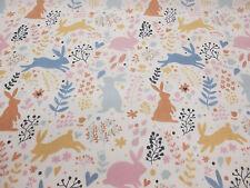 "Cute ""Woodland Bunny"", Bunny Rabbit Printed Polycotton Fabric"