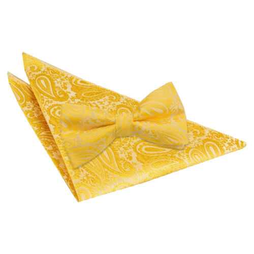 DQT Woven Floral Paisley Gold Mens Pre-Tied Bow Tie /& Hanky Wedding Set