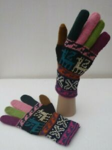 UNISEX-ALPACA-WOOL-Hand-Knitted-GLOVES-VERY-WARM-Large-Size
