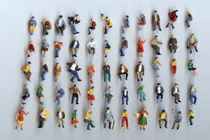 50 Assis Preiser Personnages Piste H0-neuf-peinte à La Main-afficher Le Titre D'origine