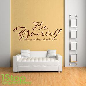 Be Yourself Citation Autocollant Mural Chambre à Coucher Maison Ebay