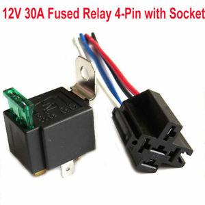 DC12V-Relay-4-Pin-Con-Presa-Base-Fili-Fusibile-Incluso-30AMP-SPST-AWG-Auto