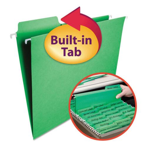 Smead FasTab Hanging File Folders Letter Green 20//Box 64098