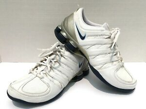 NIKE-SHOX-Women-039-s-Size-7-White-All-Leather-Running-Shoes-Athletic-Sneakers