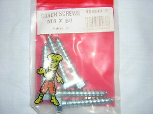 5PC-M8-X-50-COACH-SCREWS-HEXAGON-HEAD-SINGLE-THREAD-F-U-M-TOOLS-FUM