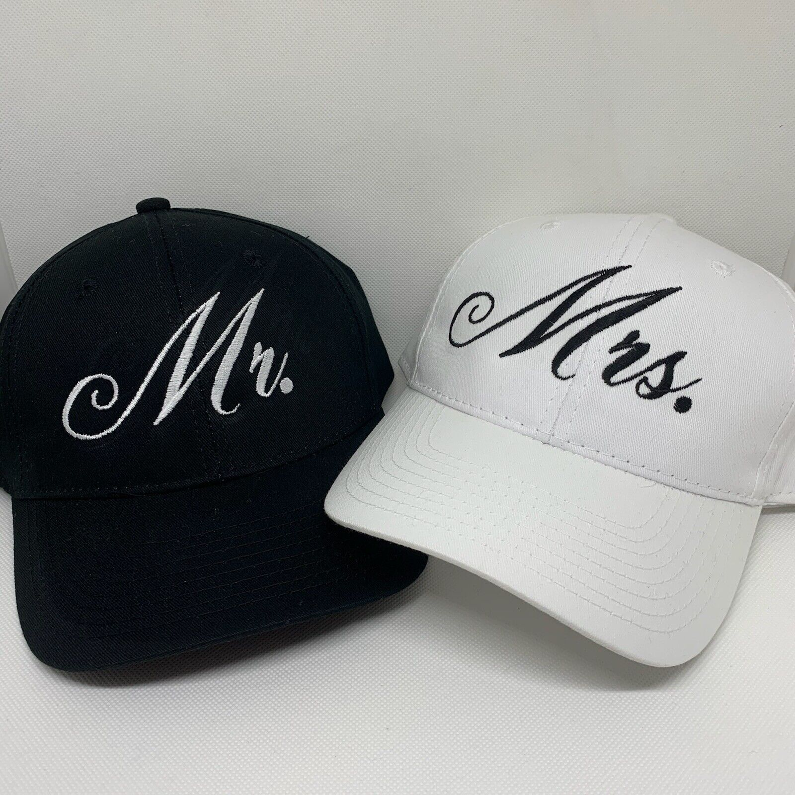 Mr and Mrs Embroidered Hats Wedding hat Bride and Groom Hats