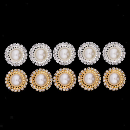 5//10pcs Round Pearl Crystal Flatback Button Cabochon for Clothing Decoration