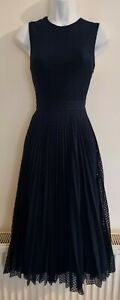 Womens Warehouse Dress size 6 navy blue fit&flare midi occasion party pretty vgc