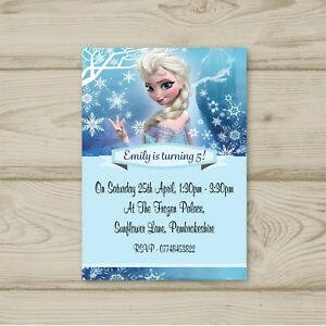 Image Is Loading 10 Personalised Frozen Birthday Party Invitations Free Envelopes