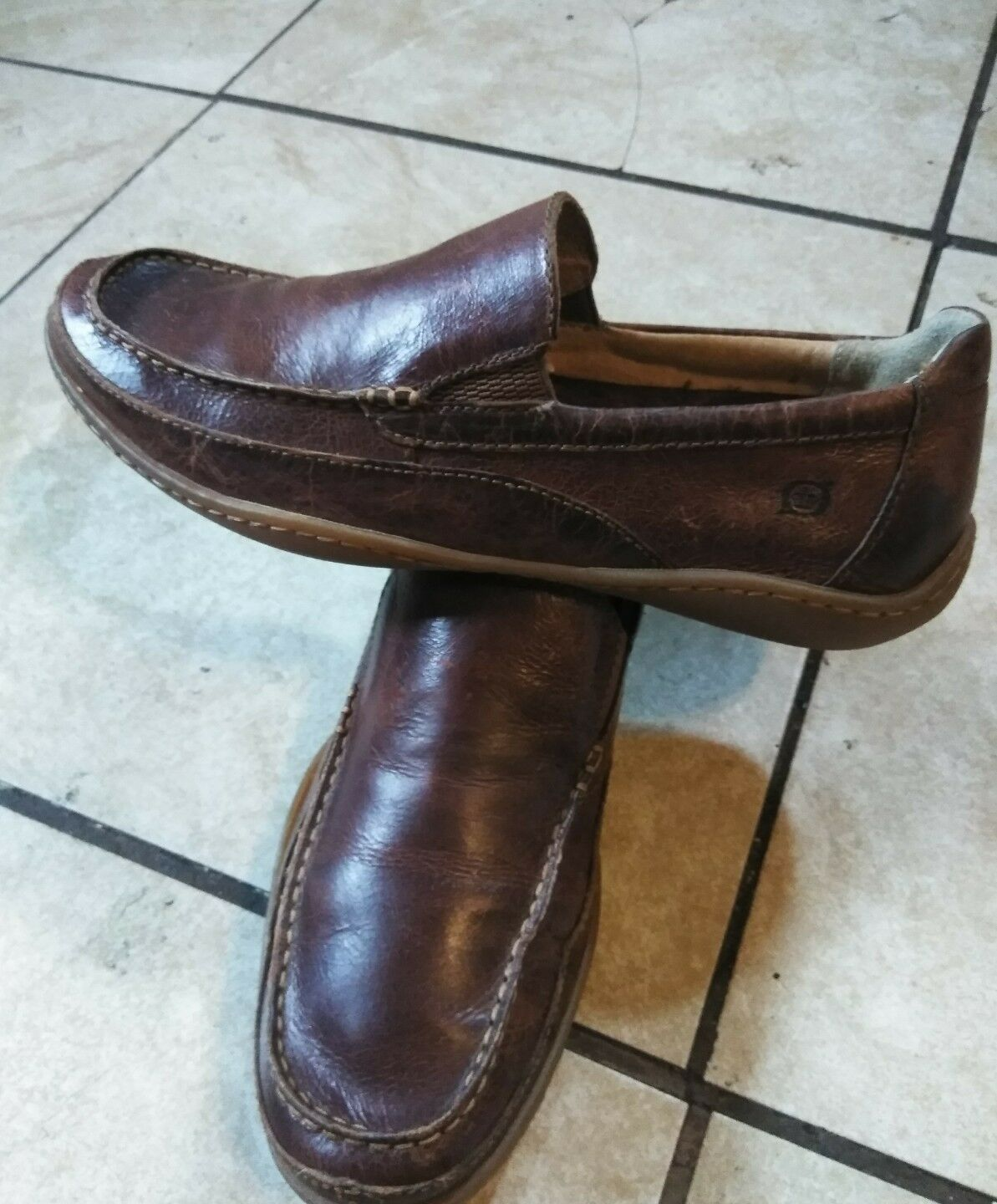 Born Men's Size 10.5/ 44.5 Brown Slip On Leather Loafers Shoes