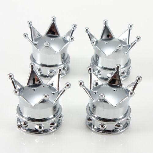 4pcs Universal Chrome Crown Style Car Tire Air Valve Stems Cover Caps Wheel Rims