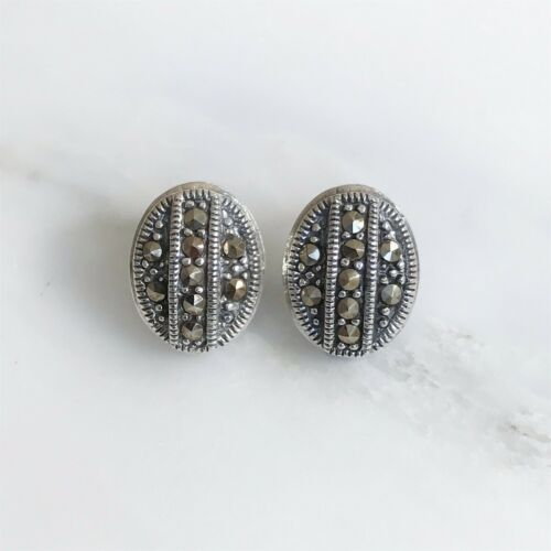 Sterling Silver 925 Marcasite Vintage Style Oval Shape Stud Earrings RRP $80