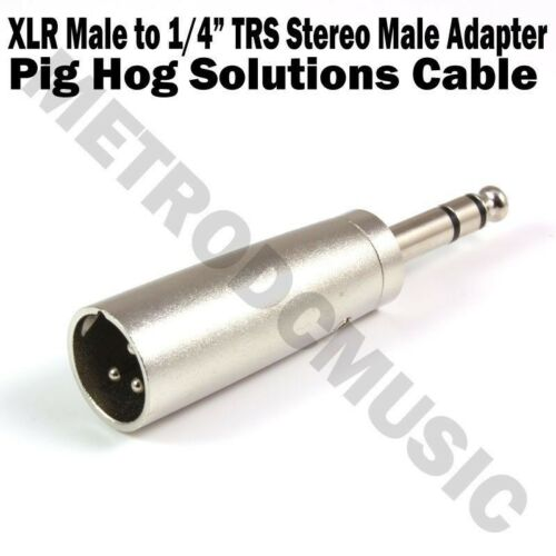 "2-Pack Pig Hog XLR Male to 1//4/"" TRS Stereo Male Adapter Metal Barrel 3-pin Cable"