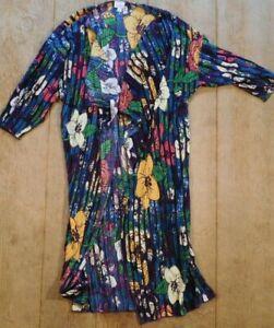 Lularoe-Shirley-Kimono-Taglia-Media-a-Pieghe-Floreale-Multi-Color-Viola-Prugna