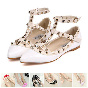 Women-Fashion-Strap-Studded-Rivet-Metal-Flat-Pointed-Toe-Shoes-Single-Sandals