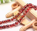 10pcs 10mm Round Cow lampwork Glass Loose Spacer Beads Red Findings