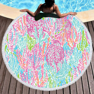 lilly pulitzer lets cha cha Round Beach Towel Tassel Tapestry Blanket Throw