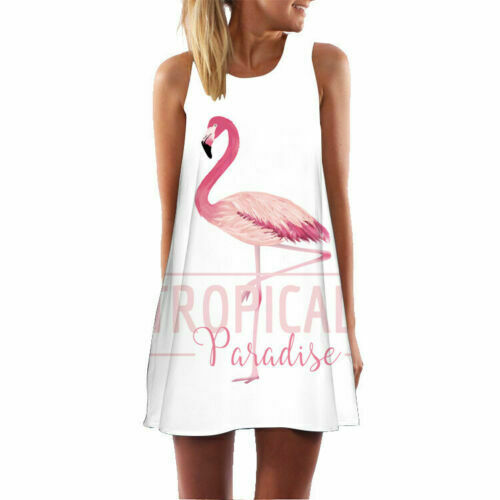 Womens Lady Flamingo Tank Top Sleeveless Summer A-Line Beach Casual Loose Dress
