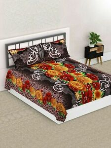 Indian-Microfiber-Double-Bedsheet-Queen-Size-with-2-Matching-Pillow-Cover
