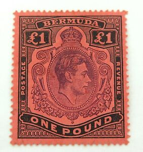 BERMUDA-KGVI-1940s-121a-1-POUND-MLH-STAMP-WELL-CENTERED-GOOD-COLOUR-amp-GRADE