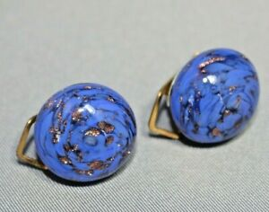 Vintage-Italian-Murano-glass-Blue-amp-Gold-clip-on-earrings-17mm-round-0-7-034-Italy