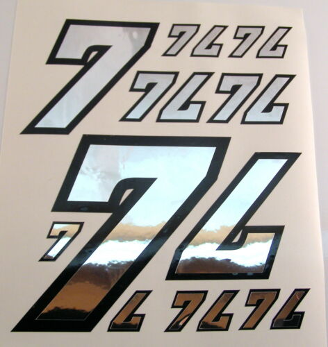 Racing Numbers Number 7 Decal Sticker Pack Silver Black 1//8 1//10 RC models S06