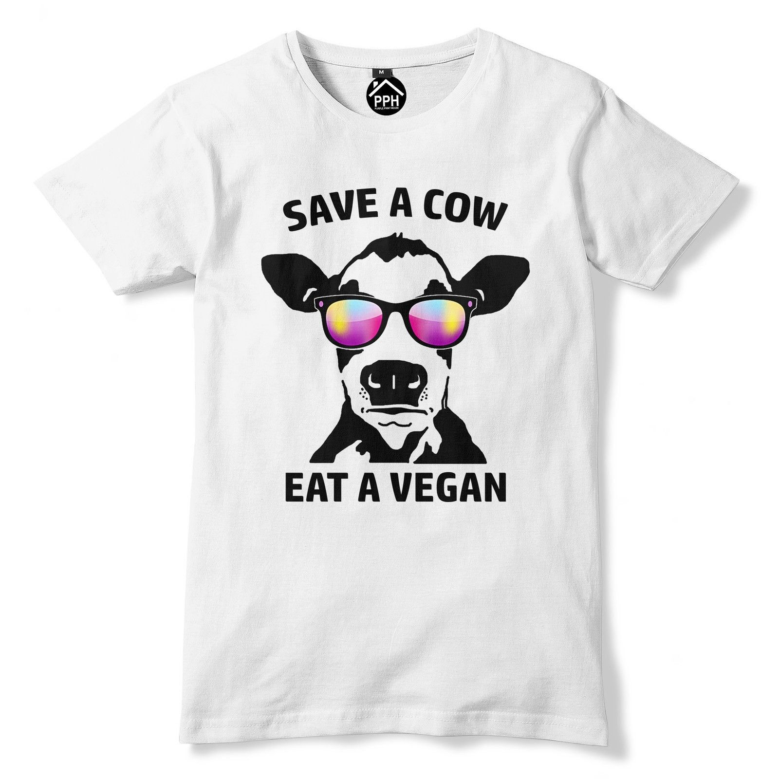 Save A Cow Eat A Vegan T Shirt Funny Novelty Animal Chill Mens