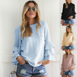 Women-Summer-Ruffle-Frill-Long-Sleeve-T-shirt-Cold-Casual-Blouse-Tops-Plus-Size