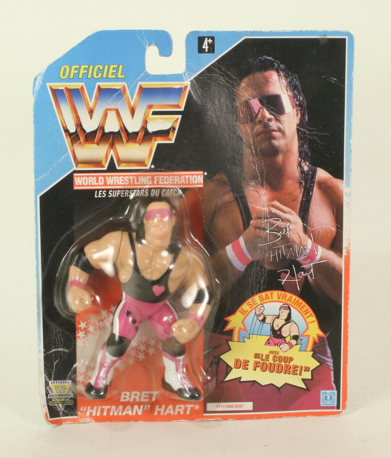 WWF Bret Hituomo Hart blu autoD Hasbro 1992 4.5 pollici WWE Wrestling