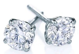 Round-Solitaire-Men-039-s-Natural-Diamond-14K-White-Gold-Stud-Earrings-1-40CT