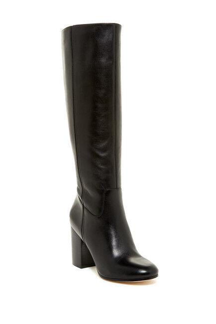 VIA SPIGA Beckett Black Leather Knee High Boots Inside Zip Block Heel SZ 7.5 NEW