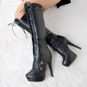 Stylish-Women-Knee-High-Boots-Round-Toe-High-Heels-Boots-Sexy-Black-Shoes-Woman