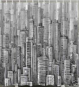 Image is loading Big-City-Pencil-Draw-Fabric-SHOWER-CURTAIN-Drawing-