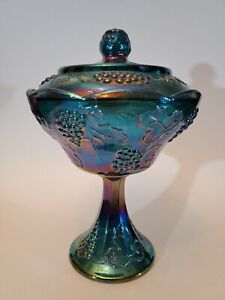 Indiana-Blue-Carnival-Glass-Harvest-Grape-Pedestal-Compote-Bowl-Dish-w-Lid-Candy